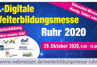 Save the Date: 29. Oktober 2020 Digitale Weiterbildungsmesse Ruhr